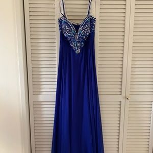 Sz 10 JVN by Jovani Blue Sweep Train Formal Gown